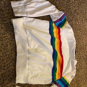 SHEIN Tops - Shein rainbow stripe sweatshirt crewneck too large